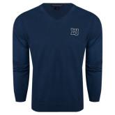 Classic Mens V Neck Navy Sweater-Interlocking LU
