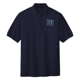 Navy Easycare Pique Polo-Interlocking LU