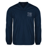 V Neck Navy Raglan Windshirt-Interlocking LU