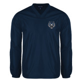 V Neck Navy Raglan Windshirt-Tiger Head