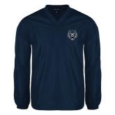 V Neck Navy Raglan Windshirt-Tiger Head
