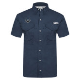 Columbia Tamiami Performance Navy Short Sleeve Shirt-Tiger Head