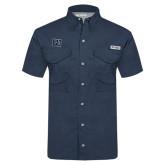 Columbia Tamiami Performance Navy Short Sleeve Shirt-Interlocking LU