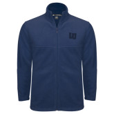 Fleece Full Zip Navy Jacket-Interlocking LU Tone