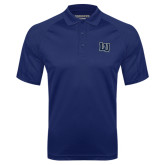 Navy Textured Saddle Shoulder Polo-Interlocking LU