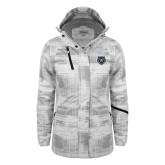 Ladies White Brushstroke Print Insulated Jacket-Tiger Head