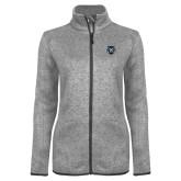 Grey Heather Ladies Fleece Jacket-Tiger Head