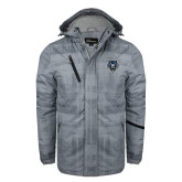 Grey Brushstroke Print Insulated Jacket-Tiger Head