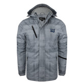 Grey Brushstroke Print Insulated Jacket-Interlocking LU
