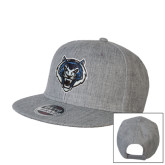 Heather Grey Wool Blend Flat Bill Snapback Hat-Tiger Head