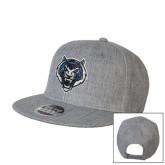 Heather Grey Wool Blend Flat Bill Snapback Hat-Tiger Head