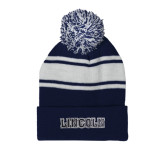 Navy/White Two Tone Knit Pom Beanie w/Cuff-Lincoln