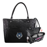 Sophia Checkpoint Friendly Black Compu Tote-Tiger Head