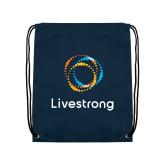 Navy Drawstring Backpack-Livestrong Stacked