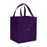Non Woven Purple Grocery Tote-Wordmark