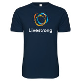 Next Level SoftStyle Navy T Shirt-Livestrong Stacked