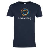 Ladies Navy T Shirt-Livestrong Stacked