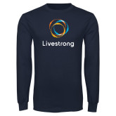Navy Long Sleeve T Shirt-Livestrong Stacked