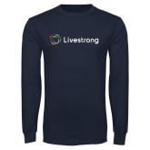 Navy Long Sleeve T Shirt-Livestrong Horizontal
