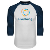 White/Navy Raglan Baseball T Shirt-Livestrong Stacked