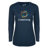 Ladies Syntrel Performance Navy Longsleeve Shirt-Livestrong Stacked