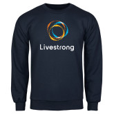 Navy Fleece Crew-Livestrong Stacked