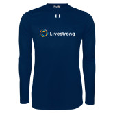 Under Armour Navy Long Sleeve Tech Tee-Livestrong Horizontal