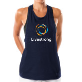 Ladies Under Armour Navy Pinhole Tank-Livestrong Stacked
