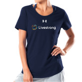 Ladies Under Armour Navy Charged Cotton Tee-Livestrong Horizontal