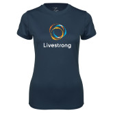 Ladies Syntrel Performance Navy Tee-Livestrong Stacked