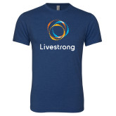 Next Level Vintage Navy Tri Blend Crew-Livestrong Stacked