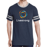 Navy Heather/Grey Tri Blend Varsity Tee-Livestrong Stacked