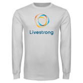 White Long Sleeve T Shirt-Livestrong Stacked