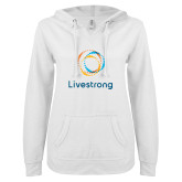 ENZA Ladies White V Notch Raw Edge Fleece Hoodie-Livestrong Stacked