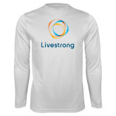 Performance White Longsleeve Shirt-Livestrong Stacked