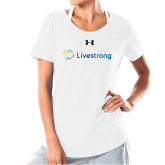 Ladies Under Armour White Charged Cotton Tee-Livestrong Horizontal
