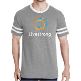 Grey Heather/White Tri Blend Varsity Tee-Livestrong Stacked