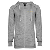 ENZA Ladies Grey/Black Marled Full Zip Hoodie-Wordmark
