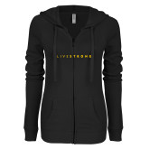 ENZA Ladies Black Light Weight Fleece Full Zip Hoodie-Wordmark