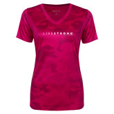 Ladies Pink Raspberry Camohex Performance Tee-LIVESTRONG