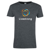 Ladies Dark Heather T Shirt-Livestrong Stacked