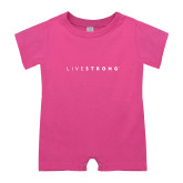 Bubble Gum Pink Infant Romper-Wordmark