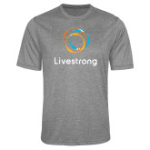 Performance Grey Heather Contender Tee-Livestrong Stacked
