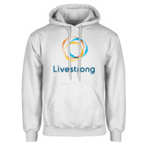 White Fleece Hoodie-Livestrong Stacked