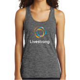 Ladies Grey/Black Heather Performance Tank-Livestrong Stacked