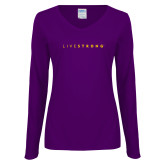 Ladies Purple Long Sleeve V Neck Tee-LIVESTRONG