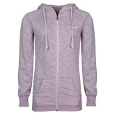 ENZA Ladies Hot Violet Marled Full Zip Hoodie-LIVESTRONG