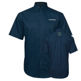 Navy Twill Button Down Short Sleeve-Livestrong Wordmark