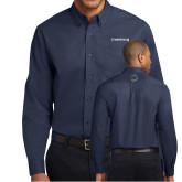 Navy Twill Button Down Long Sleeve-Livestrong Wordmark