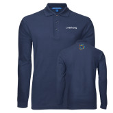 Navy Long Sleeve Polo-Livestrong Wordmark
